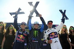 Podium: Winner Andreas Bakkerud, Hoonigan Racing Division; second place Timmy Hansen, Team Peugeot Hansen; third place Mattias Ekström, EKS RX