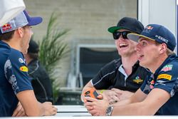 (L to R): Pierre Gasly, Red Bull Racing Third Driver with Conor Daly, and Max Verstappen, Red Bull R