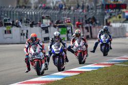 Michael van der Mark, Honda WSBK Team, Sylvain Guintoli, Pata Yamaha et Nicky Hayden, Honda WSBK Team