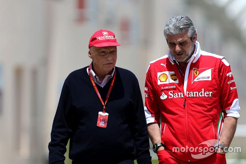 Niki Lauda, Mercedes Vorstand und Maurizio Arrivabene, Ferrari Teamchef