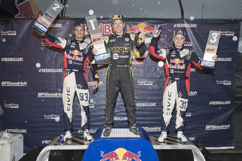 Podio: ganador Tanner Foust, Andretti Autosport Volkswagen, segundo lugar Sebastian Eriksson, Honda,