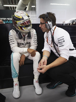 Lewis Hamilton, Mercedes AMG F1 W07 Hybrid with Toto Wolff, Mercedes AMG F1 Shareholder and Executiv