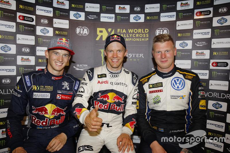 Podium: Race winner Mattias Ekström, EKS RX; second place Timmy Hansen, Team Peugeot Hansen; third place Johan Kristoffersson, Volkswagen Team Sweden