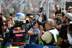 Daniel Ricciardo, Red Bull Racing celebrates his third position with the team in parc ferme