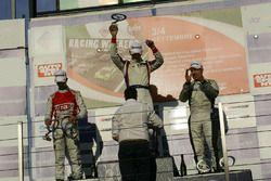 Podio TCR gara 2, Roberto Colciago (AGS,Honda Civic TCR 2015-TCR #5), Alberto Viberti (BRC racing Te