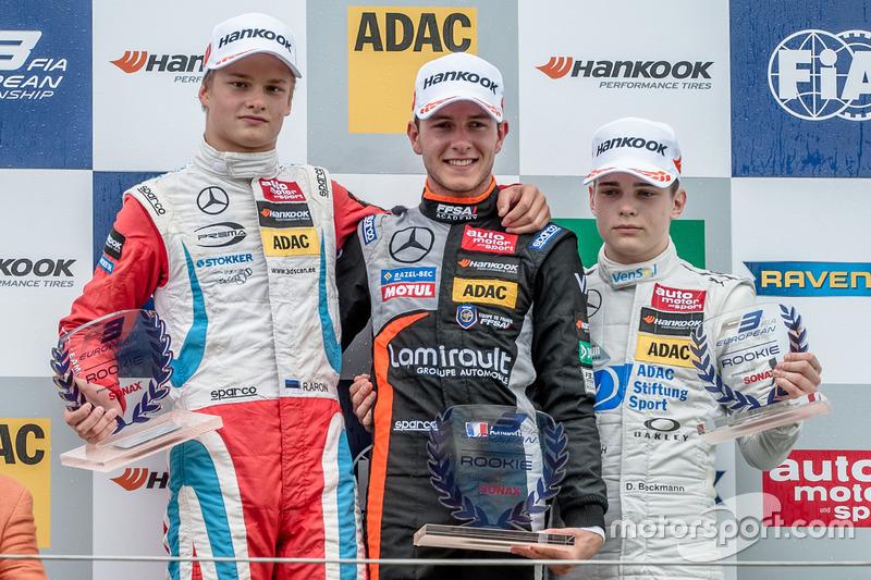 Podium des rookies : Anthoine Hubert, Ralf Aron et David Beckmann