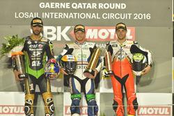Podium : le vainqueur Kyle Smith, Honda; le deuxième Kenan Sofuoglu, Puccetti Racing; et le troisième Jules Cluzel, MV Agusta Reparto Corse