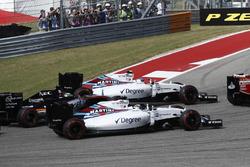 Valtteri Bottas, Williams FW38; Felipe Massa, Williams FW38 en Nico Hulkenberg, Force India VJM09