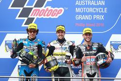 Podium: race winner Thomas Lüthi, Interwetten, second place Franco Morbidelli, Marc VDS, third place