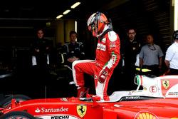 Kimi Raikkonen, Ferrari SF16-H en el parc ferme