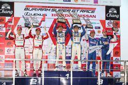 Podium GT500: winners #19 Team Wedssport Bandoh Lexus RC F: Yuhi Sekiguchi, Yuji Kunimoto, second pl