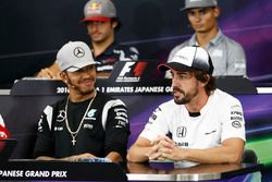 Lewis Hamilton, Mercedes AMG F1 and Fernando Alonso, McLaren in the FIA Press Conference