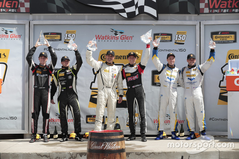 Podium (ST): first place Nick Galante, Spencer Pumpelly, RS1, second place Jason Rabe, Devin Jones, Bodymotion Racing, third place Matthew Dicken, Corey Lewis, Strategic Wealth Racing