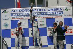 Gara 2 podio TCS: Roberto Colciago, Honda Civic TCR 2015, Alberto Viberti, Seat Leon Racer S.G.-TCR,