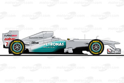 La Mercedes W02 pilotée par Michael Schumacher en 2011<br/> Reproduction interdite, exclusivité Moto