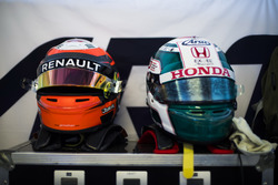Helmets of Jack Aitken, ART Grand Prix and Nirei Fukuzumi, ART Grand Prix