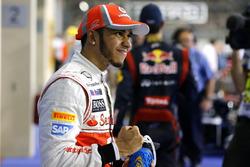Lewis Hamilton, McLaren celebrates claiming pole position