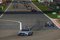 The AMG Mercedes safety-car leads Valtteri Bottas, Mercedes AMG F1 W09, Sebastian Vettel, Ferrari SF71H, Lewis Hamilton, Mercedes AMG F1 W09, and Max Verstappen, Red Bull Racing RB14 Tag Heuer
