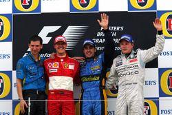 Podio: Remi Matin Renault F1 Team, il secondo classificato Michael Schumacher, Ferrari, il vincitore della gara Fernando Alonso, Renault F1 Team, il terzo classificato Kimi Raikkonen, McLaren