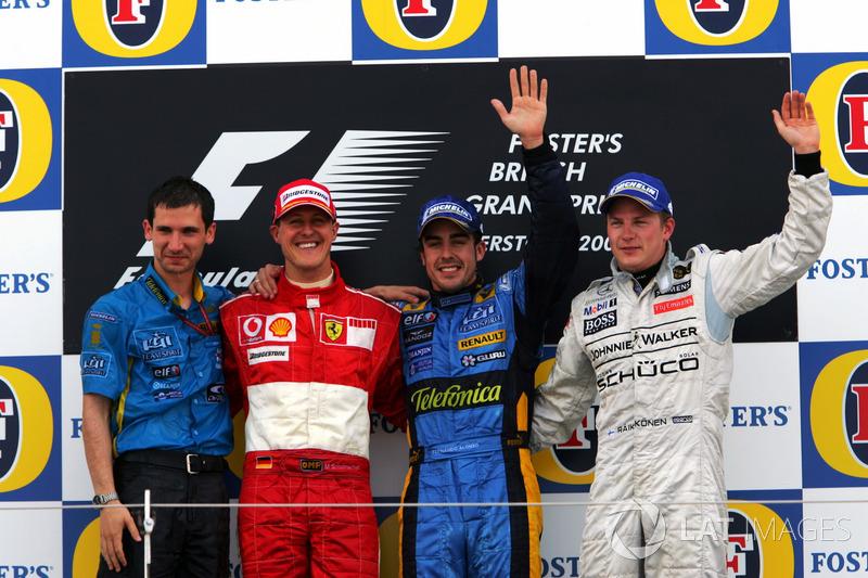 2006: 1. Fernando Alonso, 2. Michael Schumacher, 3. Kimi Raikkonen