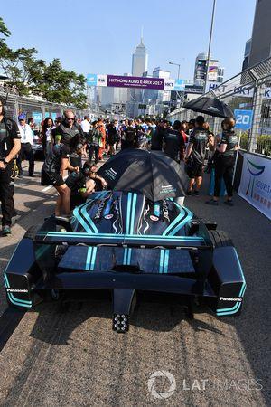 The car of Nelson Piquet Jr., Jaguar Racing, on the grid