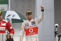 Podium: Race winner Jenson Button, McLaren
