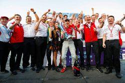 Daniel Abt, Audi Sport ABT Schaeffler, celebrates with Allan McNish, Team Principal, Audi Sport Abt