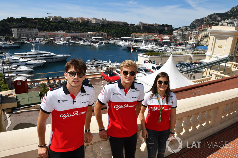 Charles Leclerc, Sauber, Marcus Ericsson, Sauber and Tatiana Calderon, Sauber Test Driver