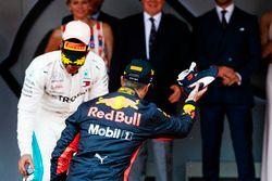 Race winner Daniel Ricciardo, Red Bull Racing, prepares to celebrate with his trademark Shoey
