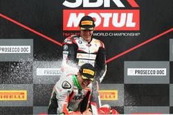 Podium STK1000: race winner Markus Reiterberger, second place Maximilian Scheib