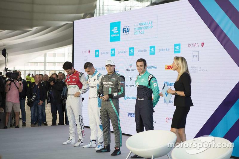 Lucas Di Grassi, Audi Sport ABT Schaeffler, Sebastien Buemi, Renault e.Dams, Nelson Piquet Jr., Jaguar Racing and Luca Filippi, NIO Formula E Team