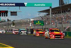 Scott McLaughlin, DJR Team Penske Ford, leads Fabian Coulthard, DJR Team Penske Ford, and Michael Ca
