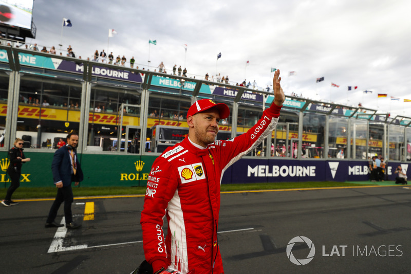 Sebastian Vettel, Ferrari, celebrates qualifying third