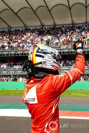 Le poleman Sebastian Vettel, Ferrari
