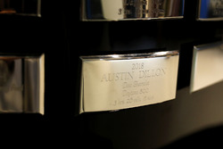 The name of Austin Dillon, Richard Childress Racing Chevrolet Camaro on the trophy