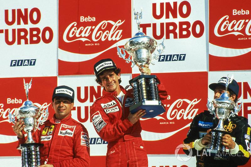 Michele Alboreto, Alain Prost e Elio de Angelis
