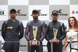 Podium: winner Anindith Reddy, second place Vishnu Prasad, third place Nayan Chatterjee