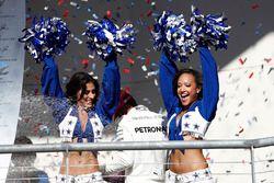 Dallas Cowboys Cheerleaders on the podium