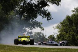 Will Power, Team Penske Chevrolet, Simon Pagenaud, Team Penske Chevrolet impliqués dans un incident au virage 9