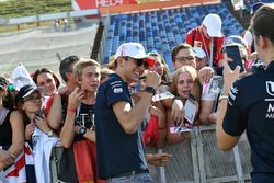 Esteban Ocon, Force India F1 poses for a photograph with fans