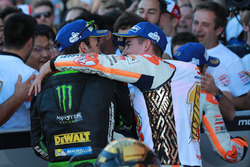 Johann Zarco, Monster Yamaha Tech 3, Marc Marquez, Repsol Honda Team in Parc Ferme