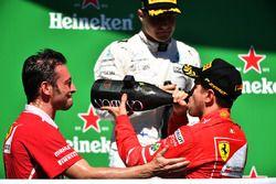 Podium: winner Sebastian Vettel, Ferrari, second place Valtteri Bottas, Mercedes AMG F1, G. Vietina,