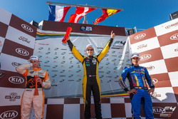 Podium: race winner Christian Lundgaard, MP Motorsport, second place Bent Viscaal, MP Motorsport, third place Guillem Pujeu, FA Racing