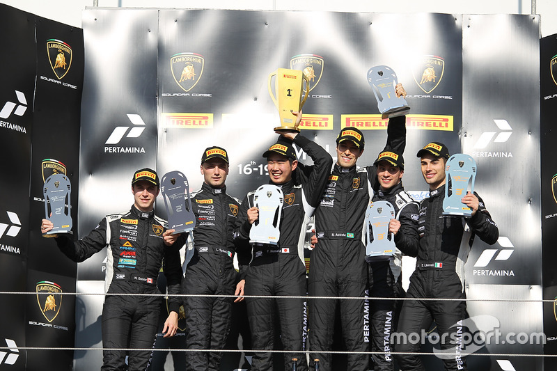 Podium Europe Pro: Race winners Raphael Abbate, Yuki Nemoto, VS Racing, second place Loris Spinelli,