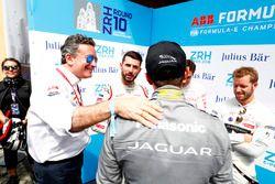 Alejandro Agag, CEO, Formula E, congratulates Mitch Evans, Jaguar Racing, on his pole postion
