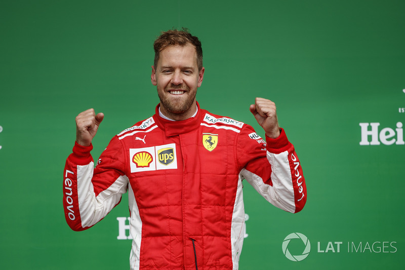 Sebastian Vettel, Ferrari, 1st position, on the podium