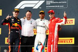 Max Verstappen, Red Bull Racing, 2nd position, Ron Meadows, Sporting Director, Mercedes AMG, Lewis Hamilton, Mercedes AMG F1, 1st position, Kimi Raikkonen, Ferrari, 3rd position, on the podium