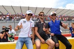 Esteban Ocon, Force India F1, Romain Grosjean, Haas F1 et Pierre Gasly, Scuderia Toro Rosso