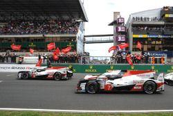 #8 Toyota Gazoo Racing Toyota TS050: Sébastien Buemi, Kazuki Nakajima, Fernando Alonso and #7 Toyota Gazoo Racing Toyota TS050: Mike Conway, Kamui Kobayashi, Jose Maria Lopez