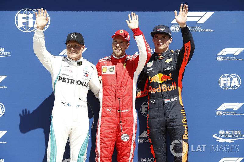 Valtteri Bottas, Mercedes-AMG F1, Sebastian Vettel, Ferrari y Max Verstappen